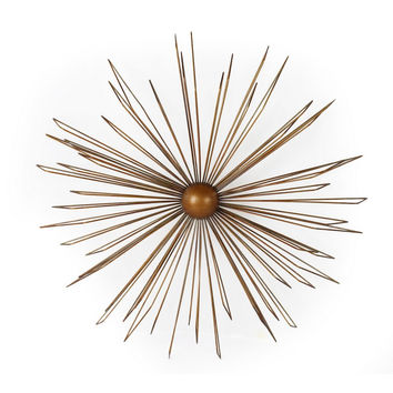 Decorative Gold-Color Iron Wall Hanging Accents Decor Widget - Contemporary Modern Starburst Design
