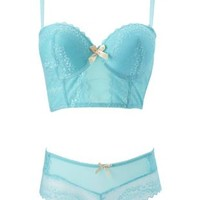 Aqua Long Line Lace Bra & Panty Set by Charlotte Russe