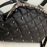 Rivet Punk Skull Head PU Leather Diamond Shoulder Bag Studs Fashion Woman Evening Clutch Bag W/Removable Shoulder Chain
