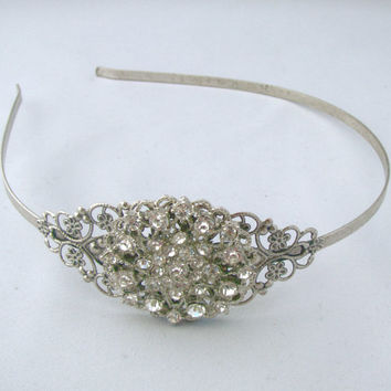 Wedding Headband, Crystal Rhinestone Bridal Head Piece, Vintage Style Antique Silver Color Headband, Hair Accessories