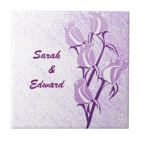 Purple Rose Couple Personalized Tile