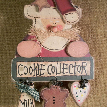 Santa Claus Gingerbread Man Sugar Cookie Wood Wall Hanging Handpainted  Cookie Collector Sign Rustic Folk Art Christmas  Decoration