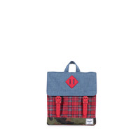 HERSCHEL SUPPLY CO SURVEY KIDS IN NAVY CROSSHATCH/RED PLAIN/WOODLAND CAMO/RED RUBBER