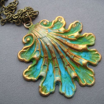 Shell Necklace - Shell Jewelry - Ocean Jewelry -  Seashell Pendant - Verdigris Necklace - Verdigris Jewelry - Spring and Summer Jewelry