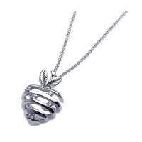 Sterling Silver Rhodium Strips Strawberry Necklace