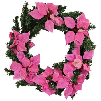 "22"" Pre-Lit B-O Pink Artificial Poinsettia Christmas Wreath - Clear LED Lights"