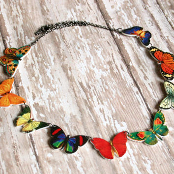 butterfly necklace rainbow  moth bug insect charm monarch orange blue red yellow