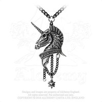 Armoured Cataphract Skull Faced Unicorn King Deadly In Battle Pendant Necklace by Alchemy Gothic