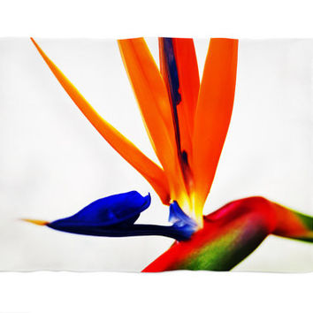 Bird of Paradise - Fleece Blanket, Orange & White Tropical Accent, Beach Surf Botanical Style Coral Fleece Throw Cover. Small Medium Large