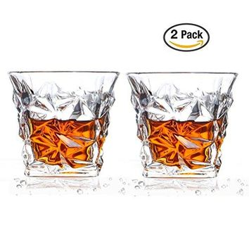 Crystal Diamond Quality Heavy Whiskey Glass Old Fashioned Glass Rocks Liquor for Scotch Cocktail Bourbon Rocks Tumbler Glass for Home Bars Set of 2 10 Ounce
