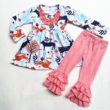 new arrival baby winter girls 2 pieces sets ruffle boutique children 100% cotton christmas reindeer printed top with ruffle pant