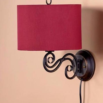 Wall Lamp Sconce Metal Scrolled Red Shade Bedroom Living Room Hall Mounted NEW