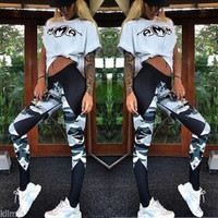Fashion Casual Camouflage Stitching Multicolor Print Sweatpants Yoga Fitness Pants Long Pants