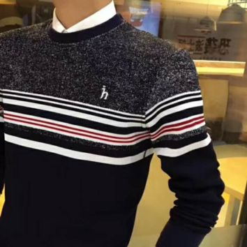 Hazzys HOT SALE Round Neck Logo Embroider Show Thin Long Sleeve Sweater G-G-JGYF