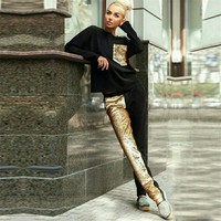 Women Casual Fashion Multicolor Stitching Sequin Sweater Long Sleeve Trousers Set Two-Piece Sportswear