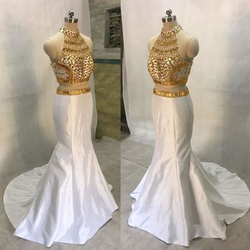 Two Piece Mermaid Prom Dresses High Neck Open Back Silvery Beaded Prom Party Gowns Crop Top Prom Evening Dress