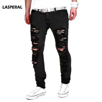 Black Ripped Mens Jeans Denim Super Skinny Scratched Biker Jeans