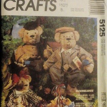Sale Sale Sale Craft Sewing Pattern McCalls 5125 Elderbearies Bear Dolls, Clothes & Bag Pattern Uncut