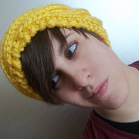 Yelllow knit headband, stylish women's hand knit yellow ear warmers, extra thick yarn