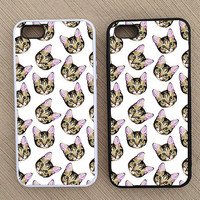 Cute Hipster Cat Pattern iPhone Case, iPhone 5 Case, iPhone 4S Case, iPhone 4 Case - SKU: 132