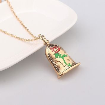 Rose Pendant Necklace Gold Colors Beauty Beast Flower
