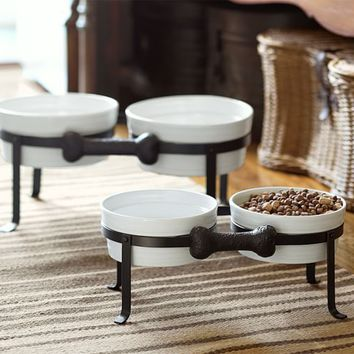 Dog Bone Pet Bowl Stand