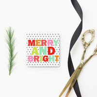 Christmas Cards for Girls Small Holiday Gift Tags Mini Black and White Polka Dot Christmas Gift Enclosure Cards Bright Colorful Gift Tags
