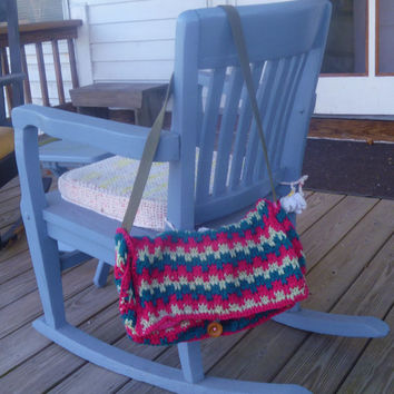 Crochet Striped Messenger Bag/Purse