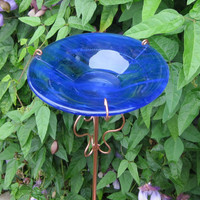Glass Bird and Butterfly Feeder, in Cobalt Blue / Clear Wispy,  5.5 Inches in Diameter