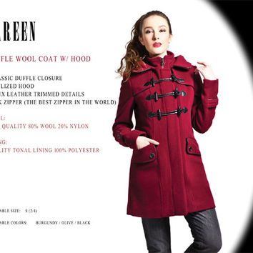 Women Duffle Wool Coat w/ Hood, Faux Leather Details, Black, Burgundy Red, Olive Green ...  Free Shipping within Canada and USA