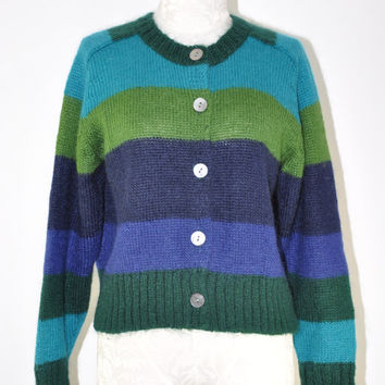 90s striped mohair cardigan / vintage 1990s cropped button front sweater / Blues And Greens jumper
