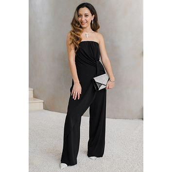 Strapless Jumpsuit with Knot Center