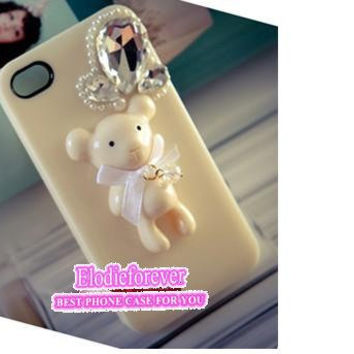 Bling Bear iPhone case, Ice cream iPhone 4s case,Bow bear iPhone 5 cover,Swarovski crystals iPhone 4 Case,Bling Bling Iphone 5 case,C014