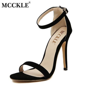 MCCKLE woman fashion Women Party Sandals Summer Brand Elegant High Heels Sandalias Mujer Women's Dress Shoes Sandal Plus