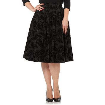 Glamor Night Flocked Peacock Feather Black Cocktail Party Flare Skirt