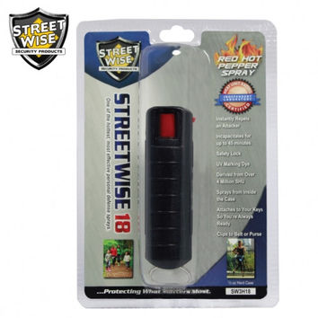 Lab Certified Streetwise 18 Pepper Spray 1/2 oz HARDCASE BLACK