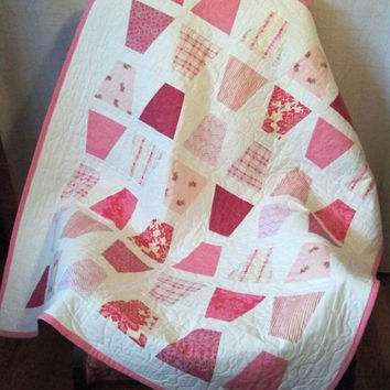 Pink  and White Modern Baby Quilt Tumbling Blocks