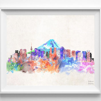 Tokyo Skyline, Watercolor Poster, Japan, Japanese Print, Cityscape, City Painting, Watercolour, Illustration Art Paint, Wall, Decor [NO 543]