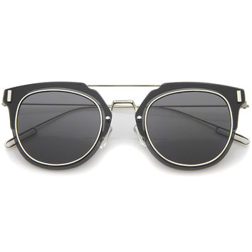 Minimal Ultra Thin Wire Frame Inner Rim Flat Lens Pantos Sunglasses 58mm