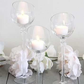 "Set of 3 Clear Glass Candle Holders - 7.75-10"" Tall"