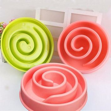 Fashion Pet Dog Plastic Bowl Interactive Slow Food Anti Gulp Feed Healthy Dish