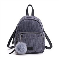 MHCADD New Girl Backpack Small Mini Backpack Fashion travel Women Shoulder Bag Fur Ball Solid Color Corduroy Back Pack Bags
