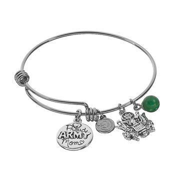 love this life Aventurine Stainless Steel & Silver-Plated ''Proud Army Mom'' Disc Charm Bangle Bracelet (Grey)