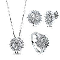 Micro Pave Cubic Zirconia CZ 925 Sterling Silver Sunflower Pendant Necklace Stud Earrings And Ring Matching 3 Pc Set #vs120