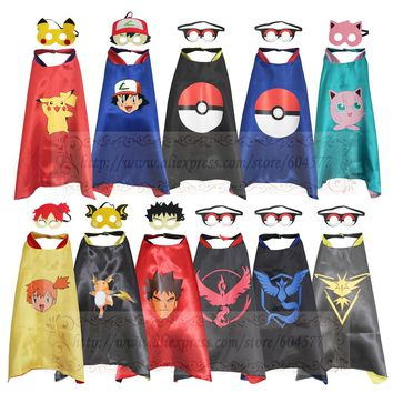 Pikachu Costumes Pokemon Cape with Mask Kids Birthday Party Favor Cosplay