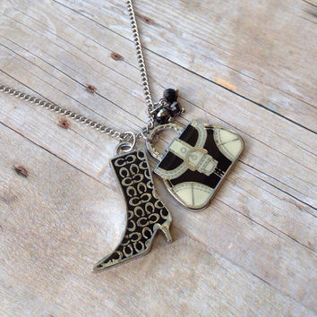 Black and White Boot and Bag Necklace