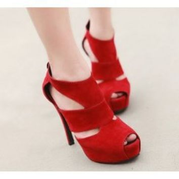 Wholesale Hallow out thick bottom fish mouth waterproof increased sandals XD-HN8028-2 red - Lovely Fashion