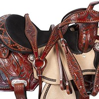 NEW WESTERN BARREL RACING RACER PLEASURE TRAIL SHOW HORSE LEATHER SADDLE TACK 15 16 (15)