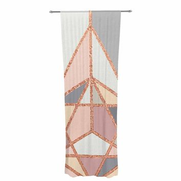 "Draper ""Rose Gold Geometry"" Gold Pastel Digital Decorative Sheer Curtain"