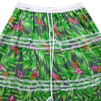 Womans Maxi Skirt Green Floral Printed Bohemian Broomstick Long Gypsy Skirts